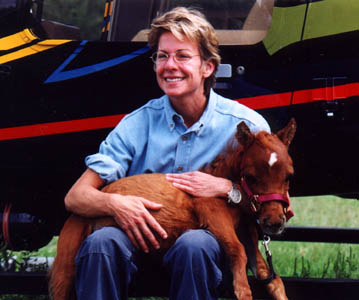 Patricia Cornwell with Trip, one of the horses she donated to the guide Horse Foundation